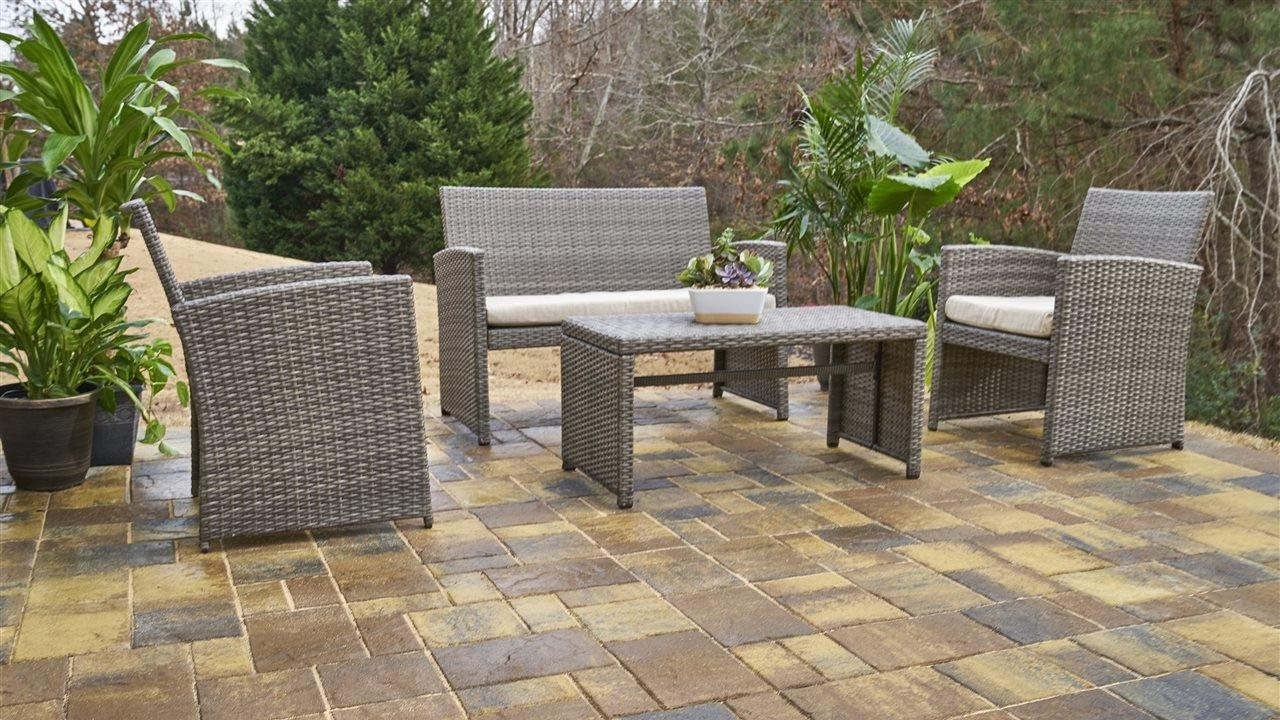 Beautiful concrete patio with outdoor furniture