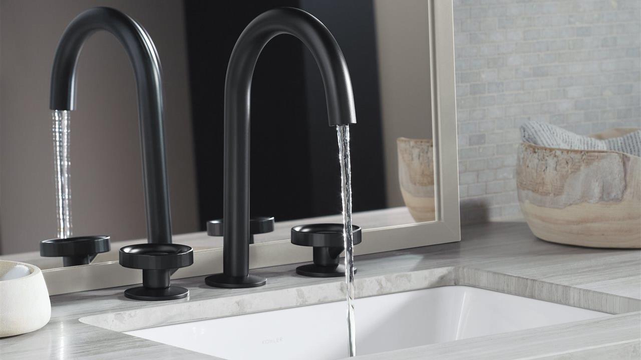 water runnning in a custom bathroom sink