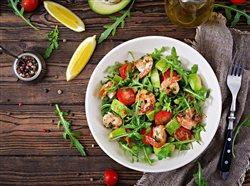 shrimp tomato avocado salad bowl