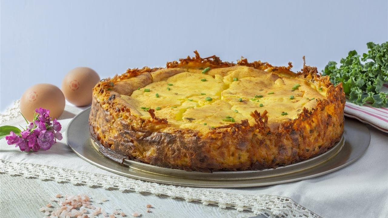 Hash Brown and Chive Crusted Goat Cheese Quiche