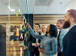 business people at the workplace using new trend in working together