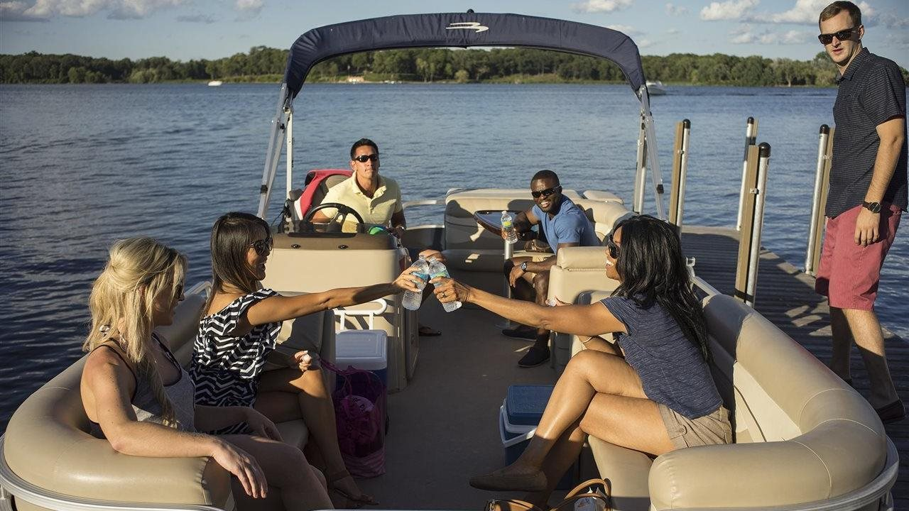 Group of friends on a pontoon