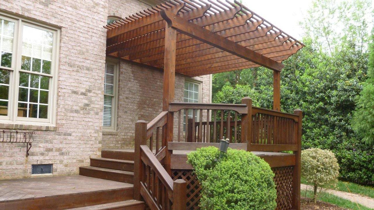 Ardhadeck Ballantyne pressure treated wood deck with pergola 1280