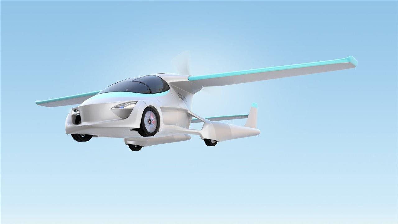 futuristic car flying in the air