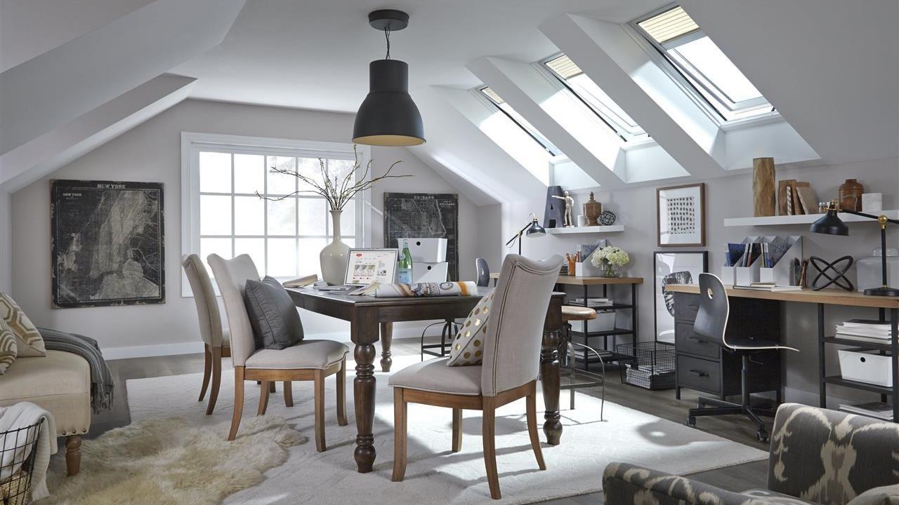 bonus room in attic with skylights