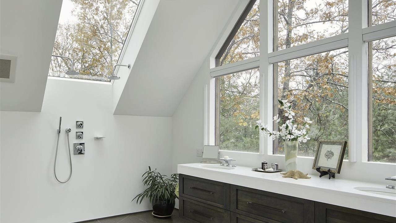 beautiful skylights and window in an upscale bath