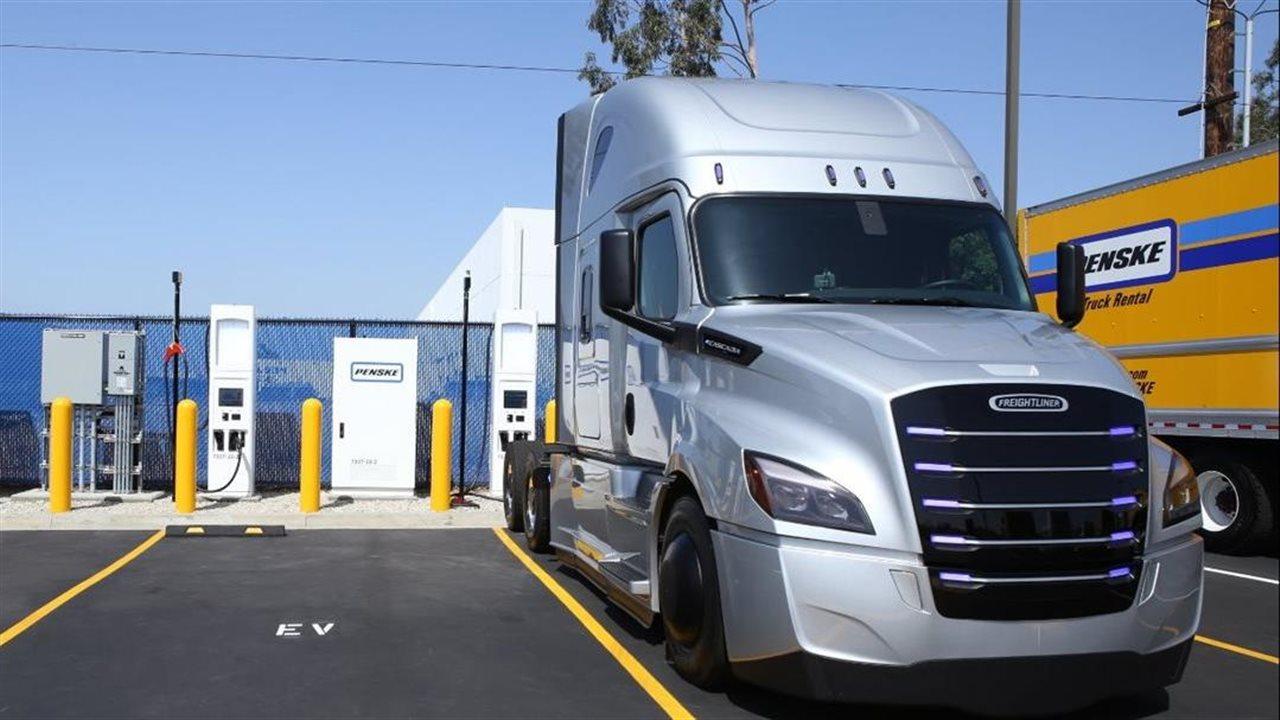 Penske truck at EV charging station