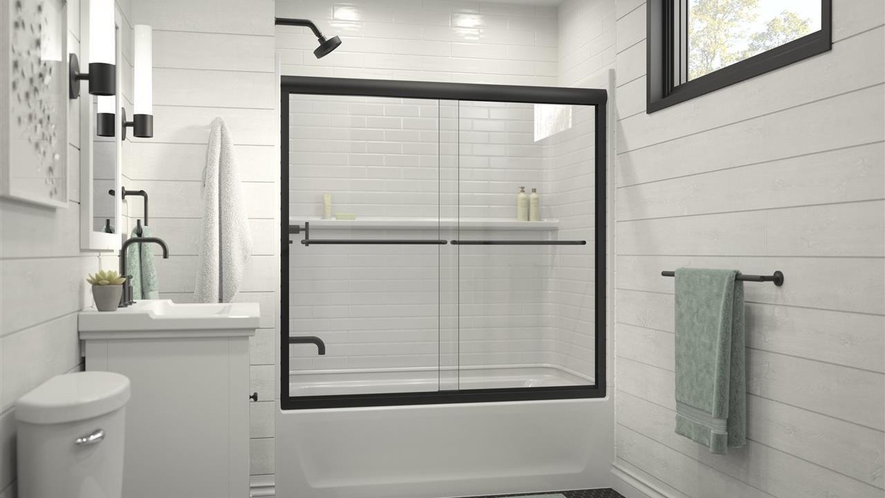 beautiful shower in upscale bath