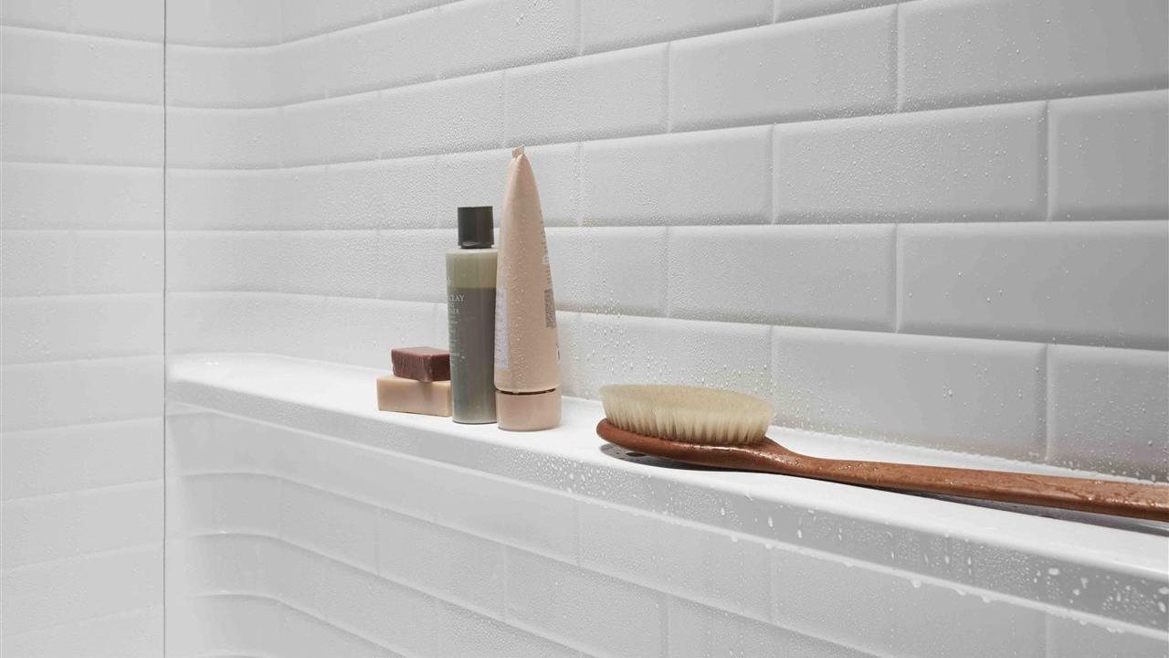 shelf at the back of a shower