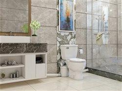 Sani Best Pro with above floor plumbing in beautiful bathroom