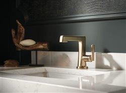 Graceful form midecentury style faucet in upscale bath
