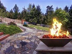 firebowl on flagstaff patio in backyard