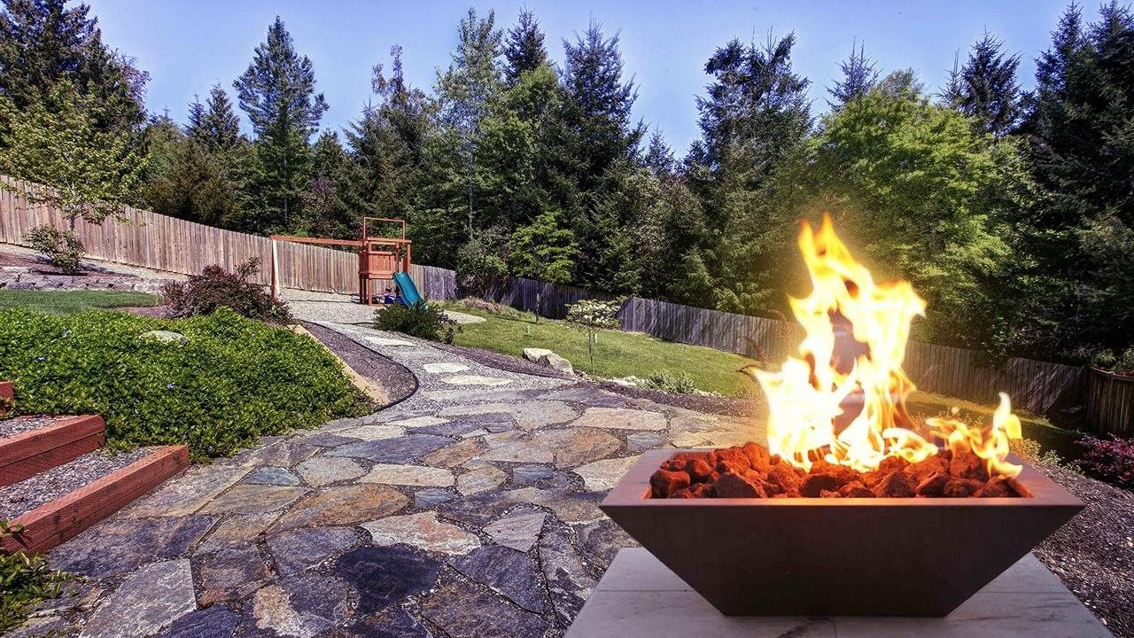 firebowl on flagstaff patio in backyard