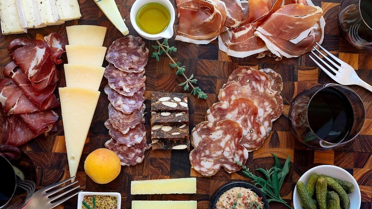 close up of charcuterie board