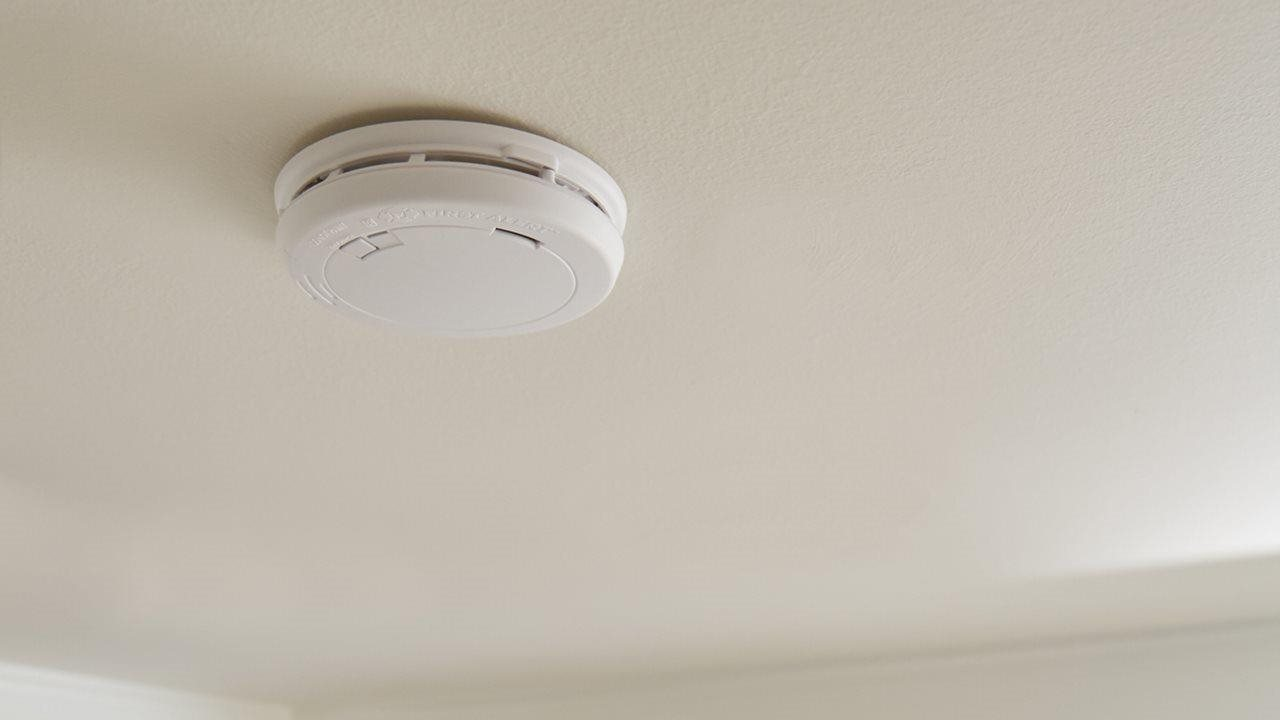 close up of first alert smoke detector