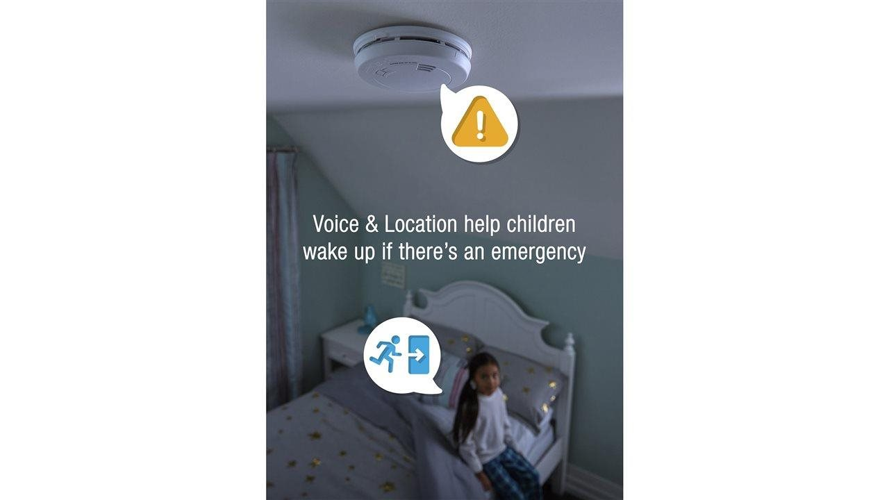 child in bedroom with first alert in their room