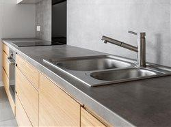 Concrete counter top in kitchen