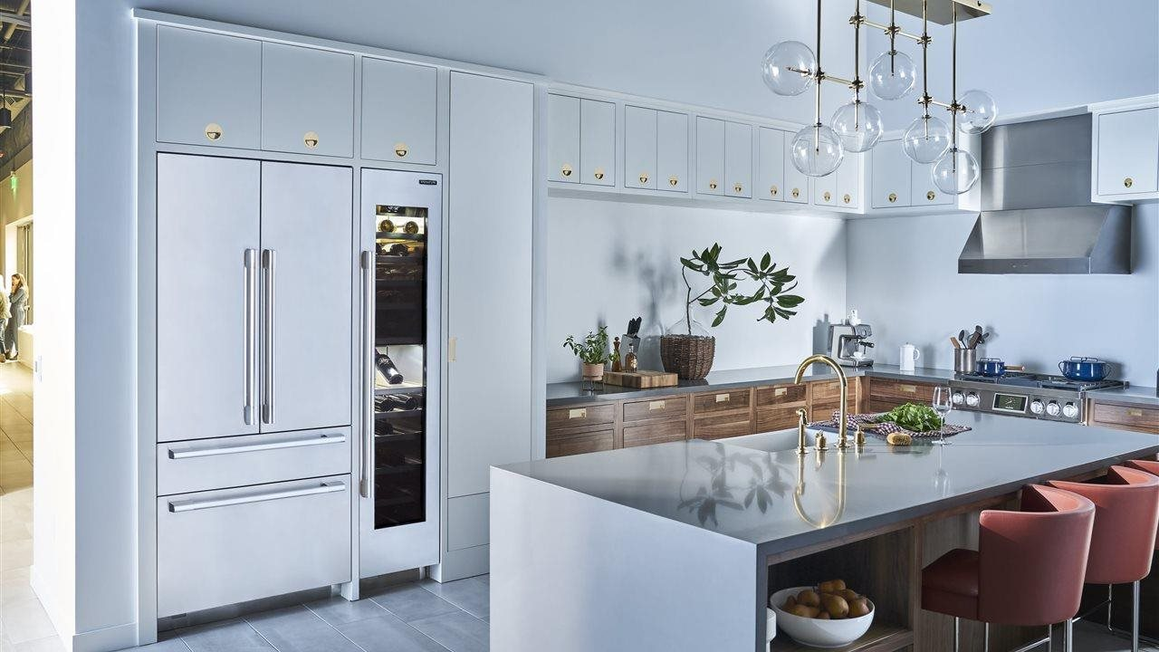 Mid-Century Modern Wine Columns in larger upscale kitchen