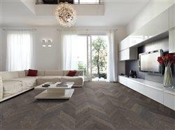 chevron flooring in beautiful modern style livingroom