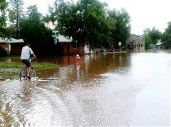 man riding a bike in to a flooded neighborhood