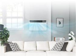 window AC blowing cool air into the living room