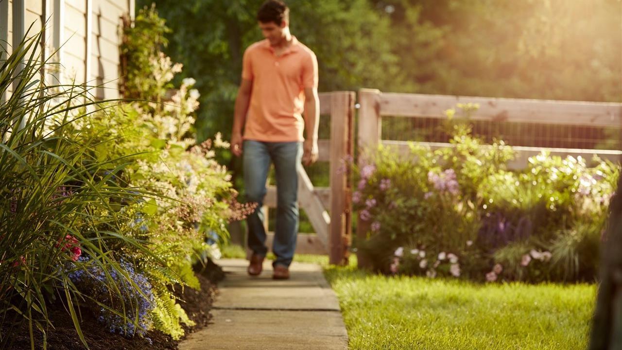 Man walking on sidewalk near flowers and grass