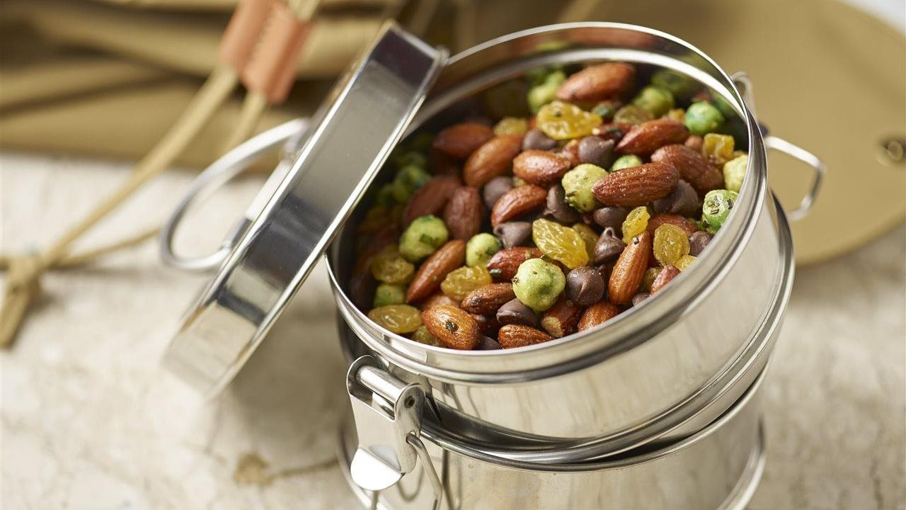 BBQ trail mix in a tin