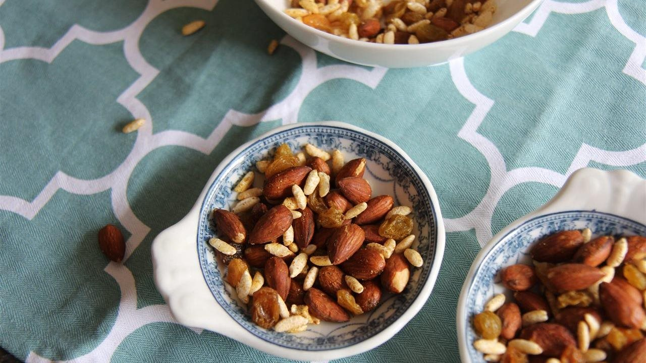 Savory Curry Snack Mix in bowls
