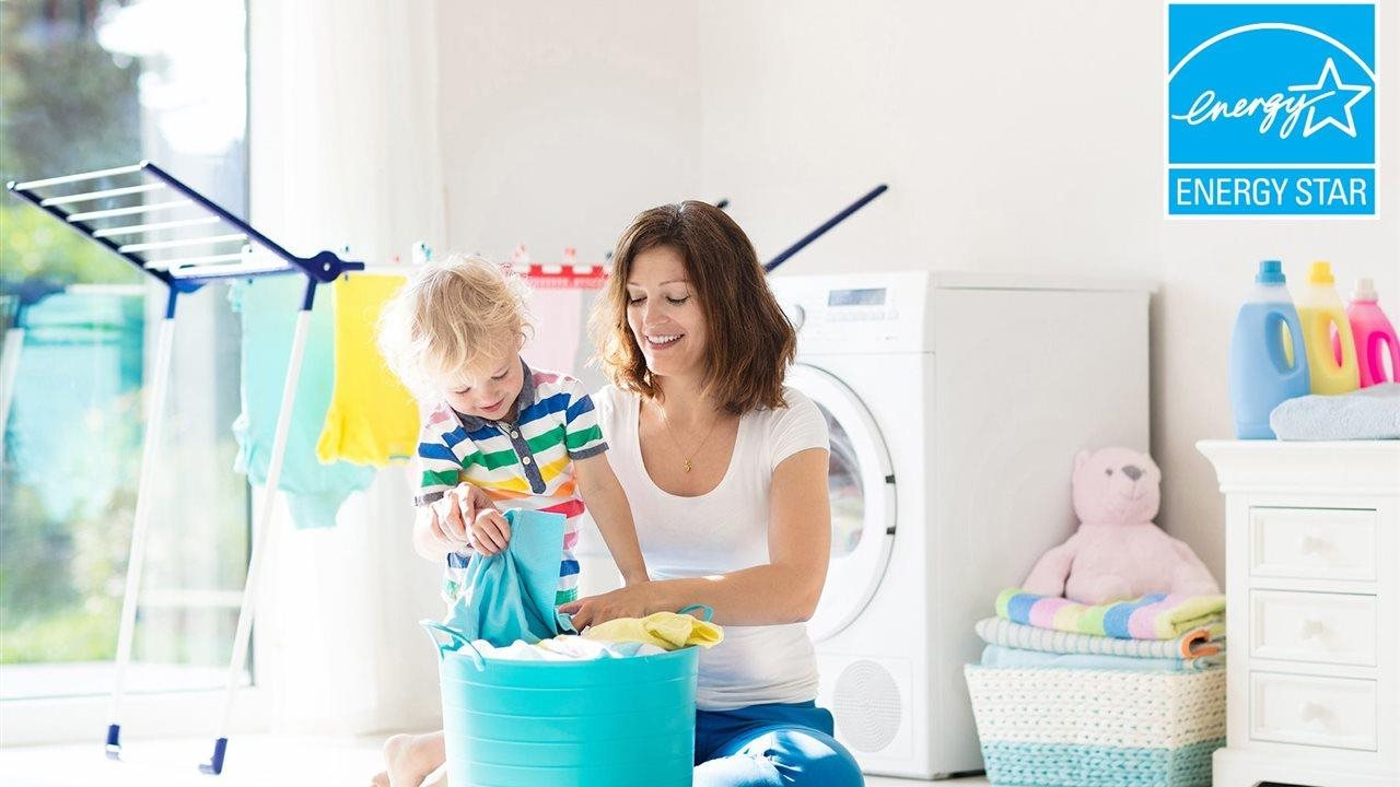 mom and son sorting the laundry