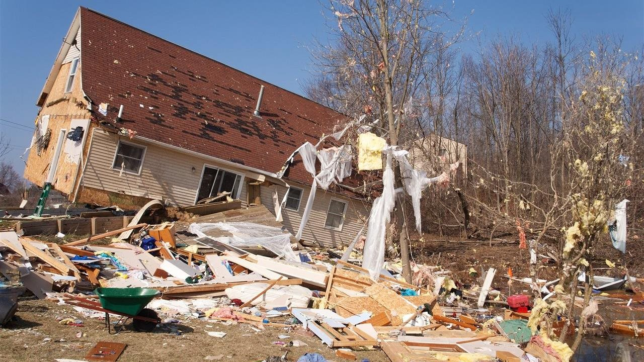 damaged house from a tornado