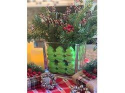 craft holiday project with peeps and evergreen in vase