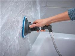 clever shower cleaning tool on a shower head hose