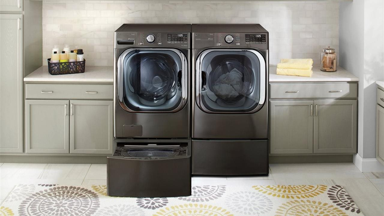 LG laundry pair in a laundry room