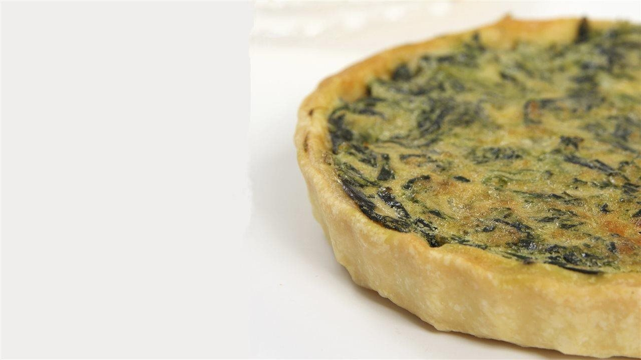 Spinach Quiche with Turkey Bacon and Goat Cheese