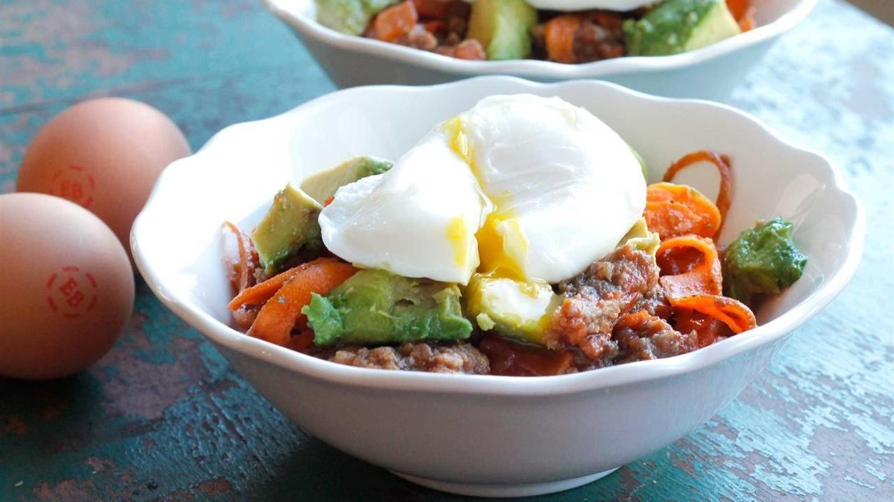 Sweet potato bowl including eggs