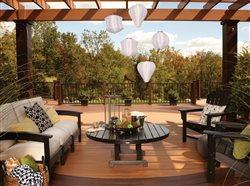 open outdoor living area on deck with pergala
