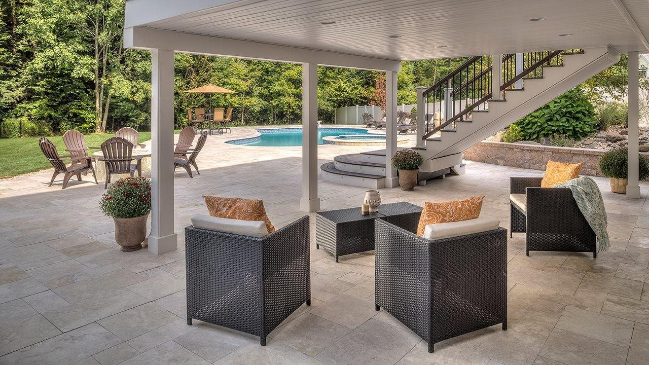 Outdoor bonus space with livingroom tucked under deck and access to near by pool