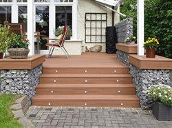 deck steps with lighting in backyard