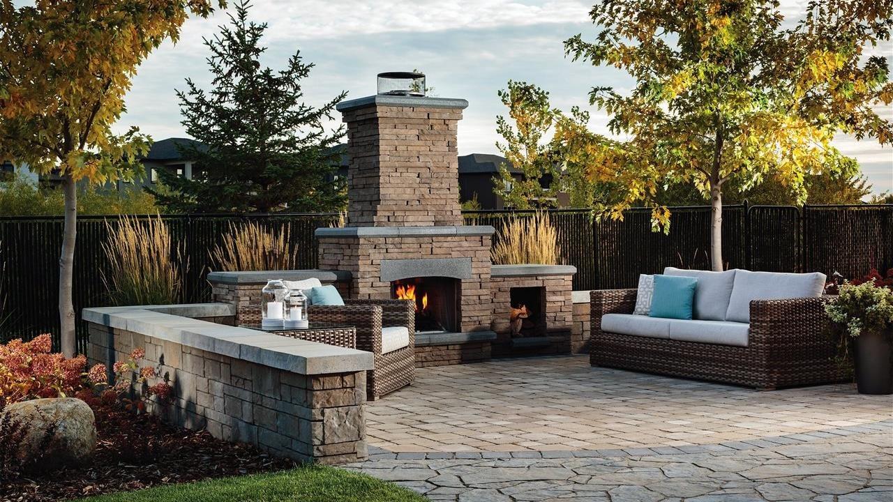 Beautiful fireplace and patio