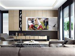 big screen tv in upscale living room