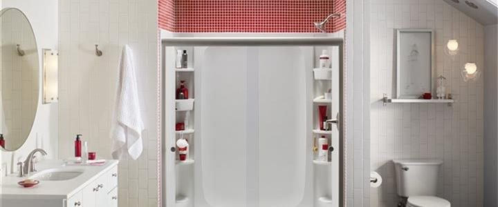 shower, vanity and toilet in upscale bath