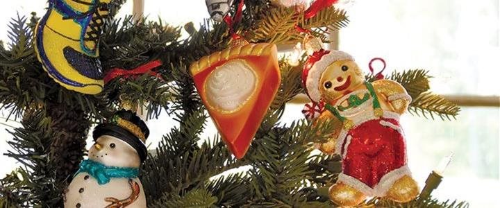 Holiday ornaments on a tree