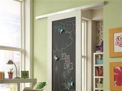 Soft-Close wall mount sliding door hardware mounting chalkboard door in childs playroom