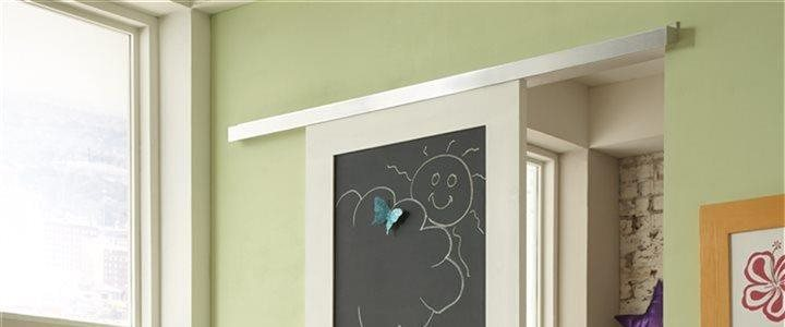 Soft-Close wall mount sliding door hardware mounting chalkboard door in childs playroom