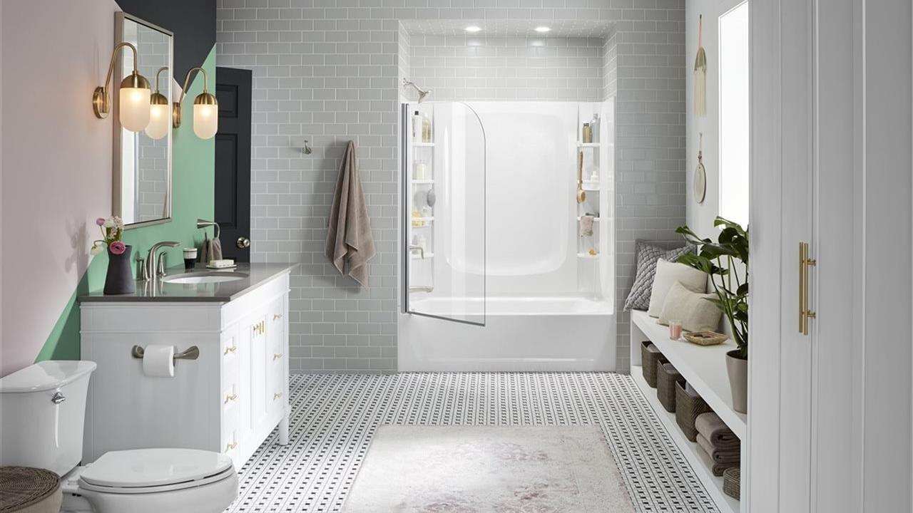 Modern white bathroom with shower