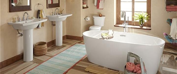interior image of luxury bath with duel sinks and deep tub