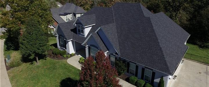 front of house and ariel view of roof