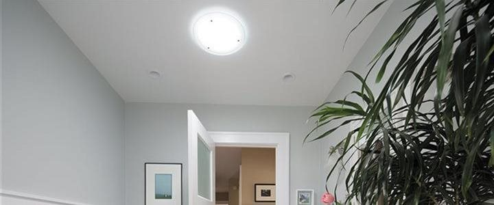 solatube skylight in ceiling of bathroom
