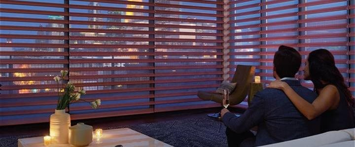 Beautiful room with blinds at twilight