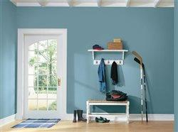 blue paint in large mud room